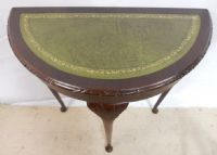 Shaped Front Console Table with Green Leather Top